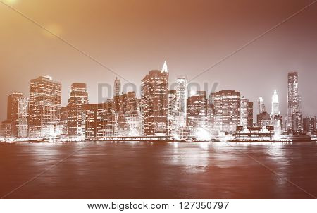 Hong Kong City at Night Light River View Concept