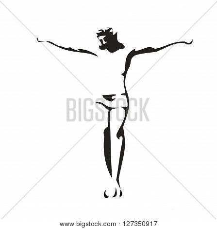 Jesus Christ crucified. Vector black illustration on white background.