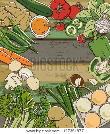 Fresh vegetables on wood table