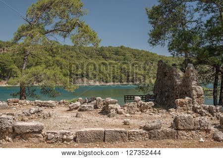 Mediterranean cost of Turkey: ruins of  ancient city Phaselis