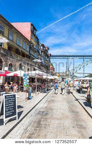 Porto Portugal 21 May 2015:Colorful houses of Porto Ribeira Portugal