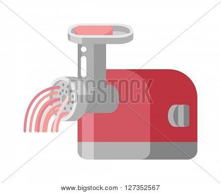 Retro meat grinder front view vector illustration.