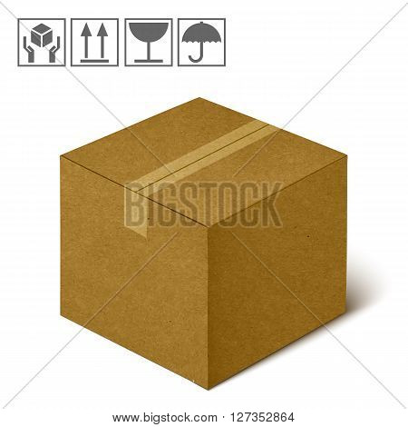 Closed Realistic Brown Cardboard Box Icon. Handling And Packing Icon Set Isolated On White Background. You Can Be Used On The Box Or Packaging.  Illustration