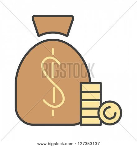 Money bag icon flat design vector.