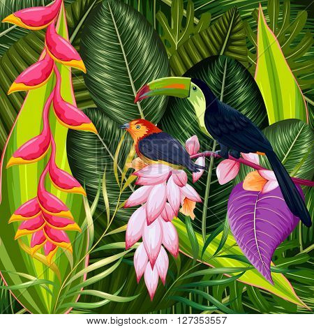 Exotic tropical background with colorful flowers and toucan