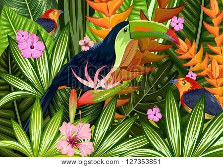 Exotic tropical background with colorful toucan