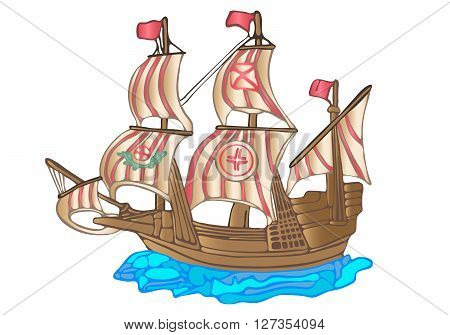 Old big sailing ship. Flat design. White background.