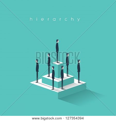 Business hierarchy in company concept with businessmen standing on a pyramid. Corporate organizational chart structure. Eps10 vector illustration.