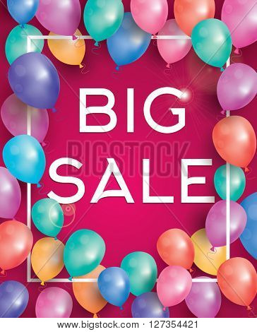 Big sale poster on red background with flying balloons and white frame. Vector illustration. Big sale banner.