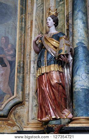 KOTARI, CROATIA - SEPTEMBER 16:Statue of Saint Cecilia on the altar in the church of Saint Leonard of Noblac in Kotari, Croatia on September 16, 2015.