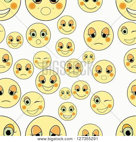 set of emoticons sad kind seamless vector illustration