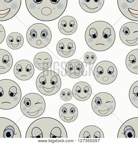 set of emoticons sad kind happy seamless monochrome vector illustration