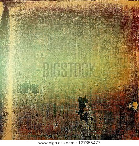 Retro style graphic composition on textured grunge background. With different color patterns: yellow (beige); brown; green; red (orange); gray; black