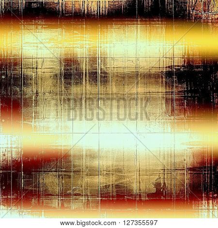 Retro style graphic composition on textured grunge background. With different color patterns: yellow (beige); brown; red (orange); black; white