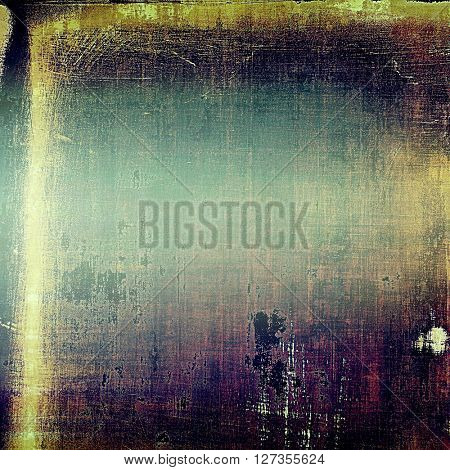 Old school elements on textured grunge background. With different color patterns: yellow (beige); blue; purple (violet); black