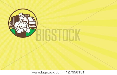 Business card showing illustration of a garbage collector with folded arms and rubbish waste collection truck in background set inside circle done in retro style.