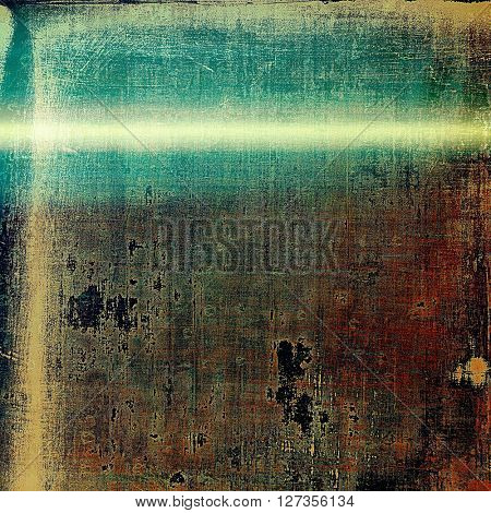 Old school elements on textured grunge background. With different color patterns: yellow (beige); brown; green; blue; gray; black