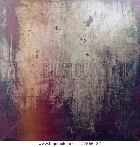 Grunge texture, aged or old style background with retro design elements and different color patterns: green; red (orange); gray; purple (violet); pink; black