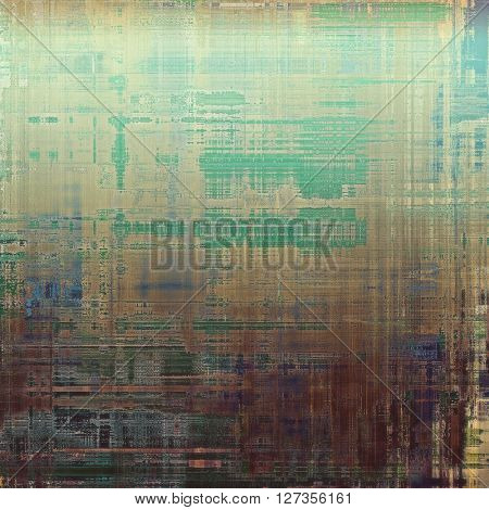 Old style design, textured grunge background with different color patterns: yellow (beige); brown; green; blue; gray