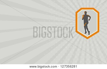 Business card showing illustration of marathon triathlete runner running facing front view set inside shield crest on isolated done in retro style.