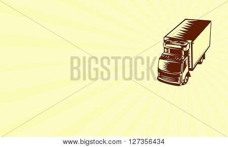Business card showing illustration of a refrigerated truck viewed from hi-angle set on isolated background done in retro woodcut style.