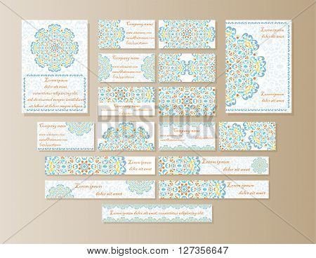 A large set of printed materials from Mandala design in oriental style. Flyers business cards banners with delicate colors.