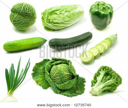 page of green vegetables isolated on white