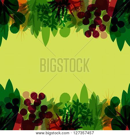Seamless border of silhouettes of cacti and succulents. Seamless background of modern silhouettes houseplants. Horizontal border of cactus isolated on green background. Vector illustration.