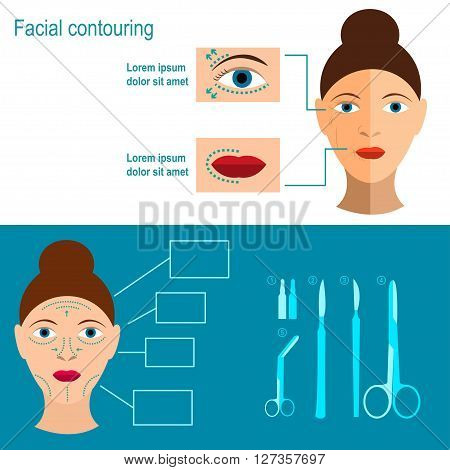 Plastic surgery of the face. Infographics. Facial contouring. Methods of rejuvenation. Plastic surgery. Vector illustration. Flat design