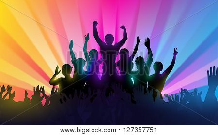 Silhouettes of happy people with hands up on color background