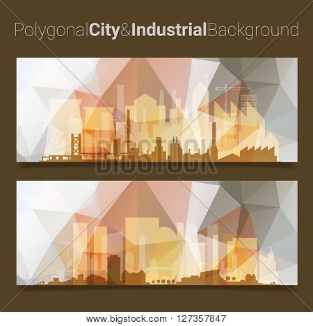 Trendy blurred polygonal website header slider webdesign kit with city skyline and industrial backgrounds