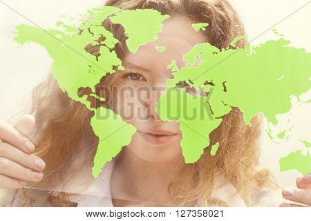 Businesswoman Global Commercial Enterprise Concept