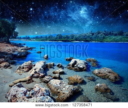Coastal landscape on Cleopatra's island. Outdoor shot. Elements of this image furnished by NASA