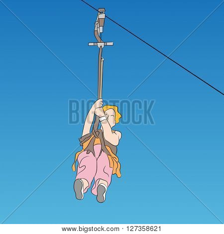 An image of a female zip line rider front view.