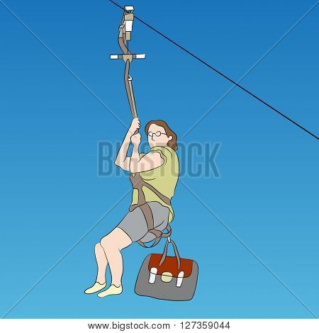 An image of a female zip line rider.