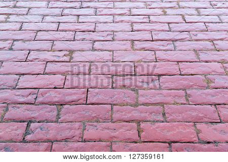 Wet Red Pink Cobbles Stones Path