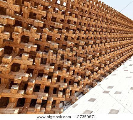 detail of modern natural wood structure
