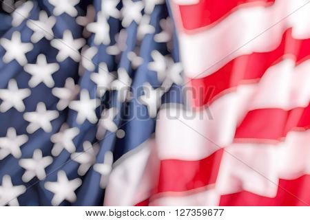 detail of old glory american flag blurry background