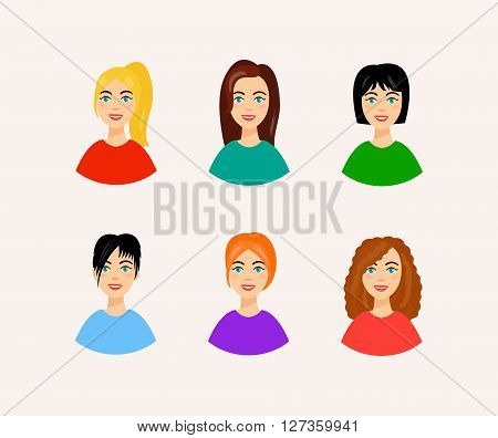 Set of women faces with beautiful and colorful hairstyles. Vector illustration of different hairstyles. Smiling woman faces in cartoon style.