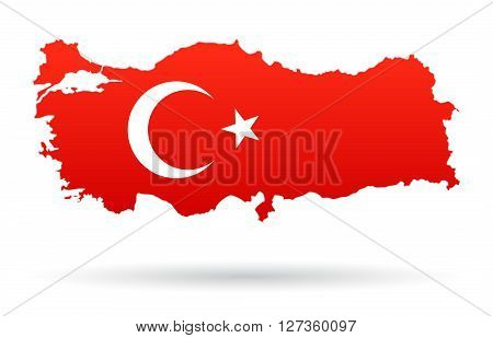 Turkey map flag red with moon and star
