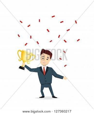 Cartoon man champion with trophy cup. Satisfied smiling man holding in his hands cup vector illustration. Success, business concept in flat style.