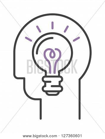 Idea symbol bulb lamp and idea icon concept. Power design lightbulb idea in hand, innovation creativity business idea. Light lamp sign idea icon concept bulb light in hand line art vector