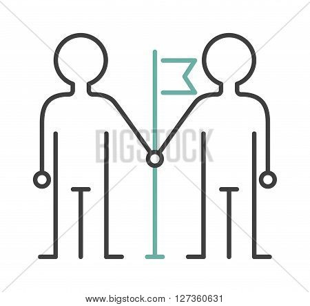 Friendship icon people sign team together teamwork vector line art. Team friendship icon and hand friendship icon concept. Business handshake friendship icon concept meeting partnership.