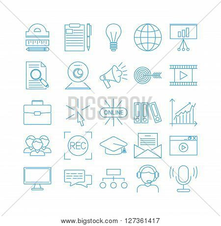 Vector business webinar and online education outline icons. Online education flat icons concepts illustration. Internet trainings and webinars outline icons. Online education, business teamwork