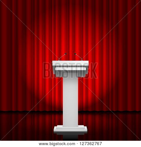 Tribune for the performance of speech on a red background