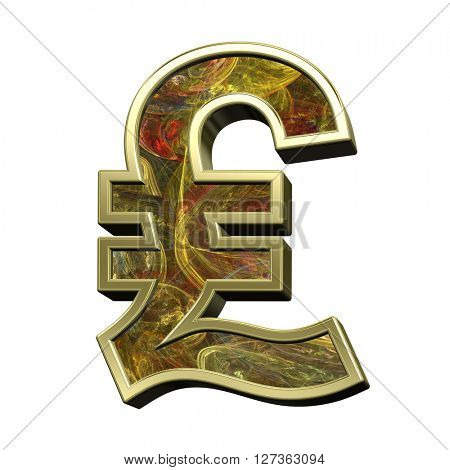 Pound sign from fractal alphabet set isolated over white. 3D illustration.