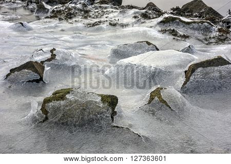 Rock Cracking Ice, Lofoten Islands, Norway