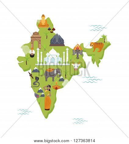 Traditional symbols country travel national form map India flat vector illustration. India map nation concept and India map geography. Traditional symbols of India map world delhi contour.