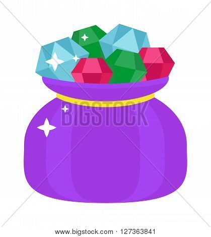 Bag with gems cartoon illustration jewels sack luxury diamond shiny gift flat vector. Shiny jewels bag and fashion jewels bag accessory. Luxury jewels bag beauty brightstone accessory concept.