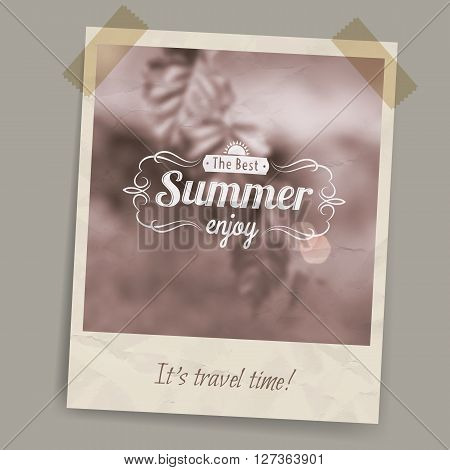 Blurred summer background in brown tones and sepia on a postcard or photo stuck on transparent tape